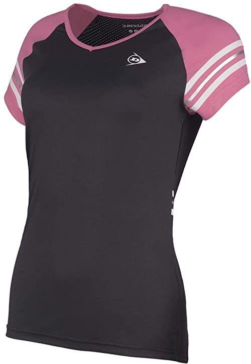 Dunlop Damska koszulka 72226-XXL Performance Line Crew T-shirt, czarny/różowy, XXL