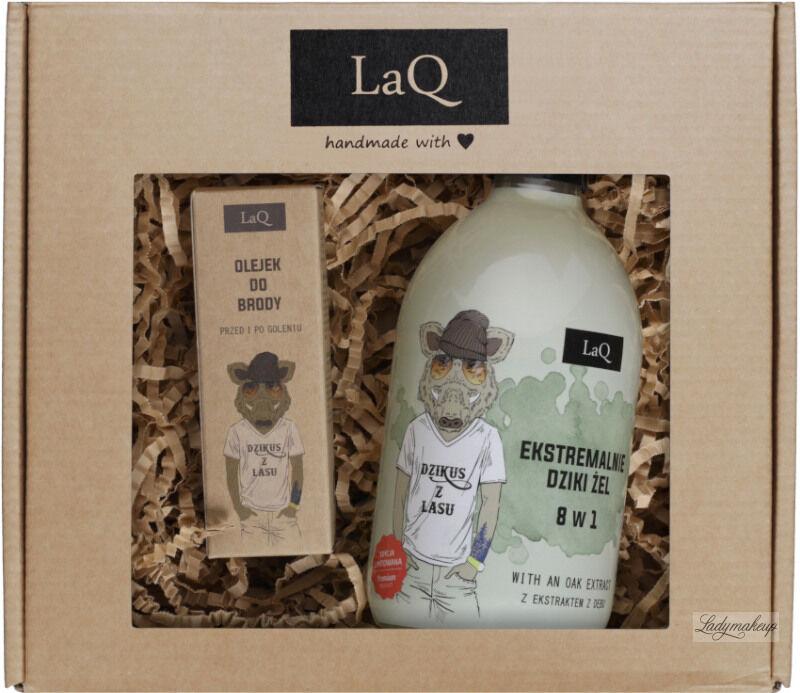 LaQ - Dzikus z Lasu - Zestaw prezentowy dla mężczyzn - Żel pod prysznic 8 w 1 - 500 ml + Olejek do brody 30 ml