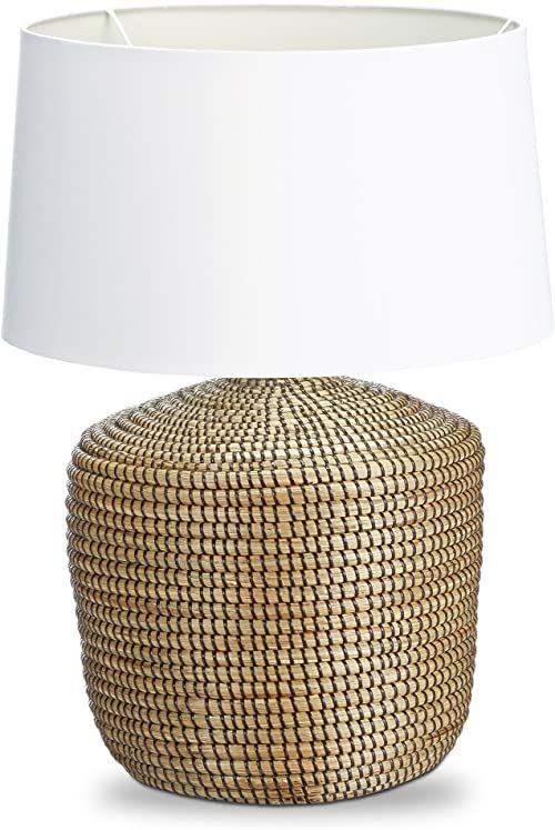 Relaxdays Lampa stołowa trawa morska lampa na stolik nocny biuro abażur biały z bawełny design morski rustykalny mały Shabby Chic eReader lampka do czytania atmosfera, brązowa