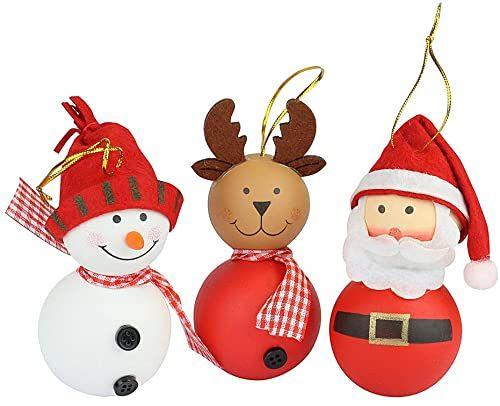 eBuyGB zestaw 3 sztuk Boże Narodzenie, bałwan i renifer figurka wisząca dekoracja choinkowa