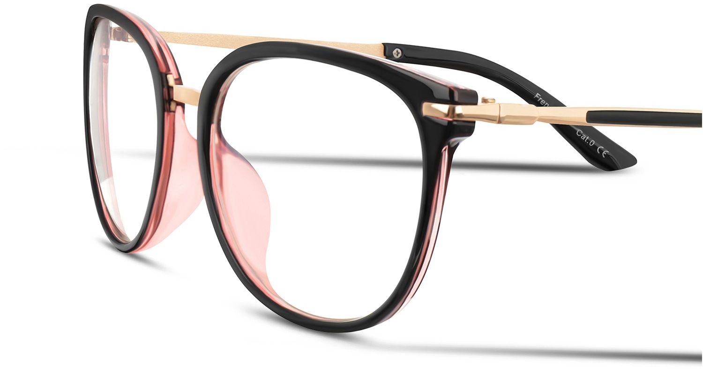 Okulary Kocie Oczy Korekcyjne z Antyrefleksem Zerówki POL-BLF-849K