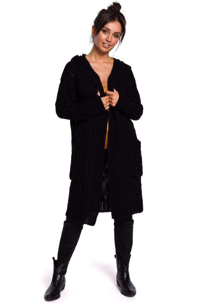 BK033 Długi kardigan z warkoczem - czarny