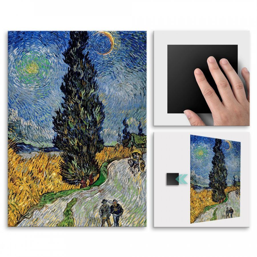 Plakat metalowy Vincent Van Gogh Country Road in Provence by Night M