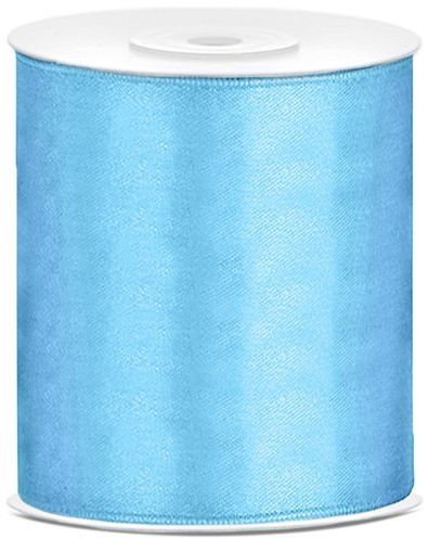 Tasiemka satynowa błękitna 10cm 25m 1 sztuka TS100-011