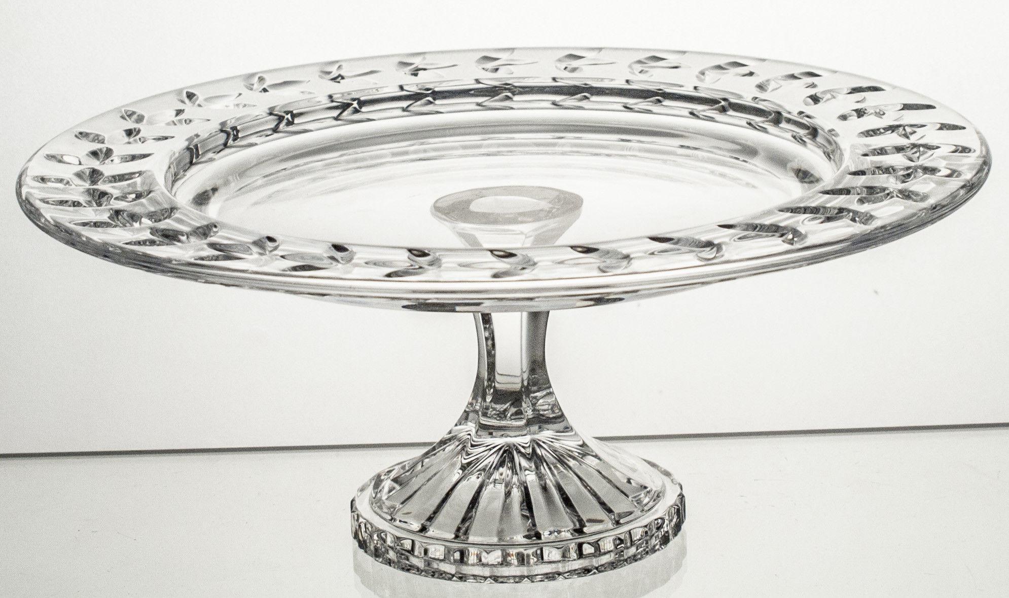 Talerz kryształowy na nodze na ciasto (14296)