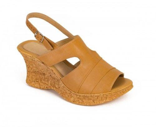 Sandały damskie na koturnie - miodowe