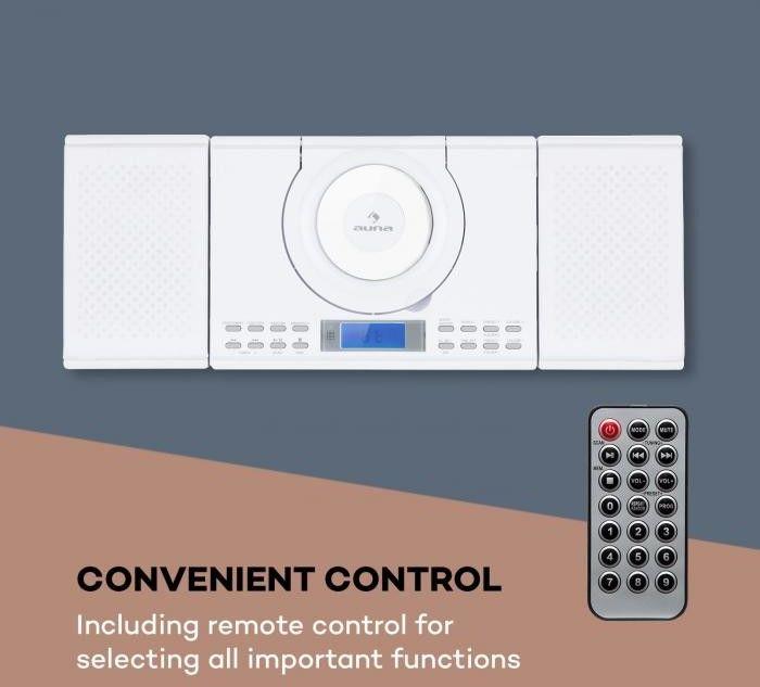 Auna Wallie Mikrowieża, odtwarzacz, CD, Bluetooth, port USB, pilot zdalnego sterowania kolor, biały