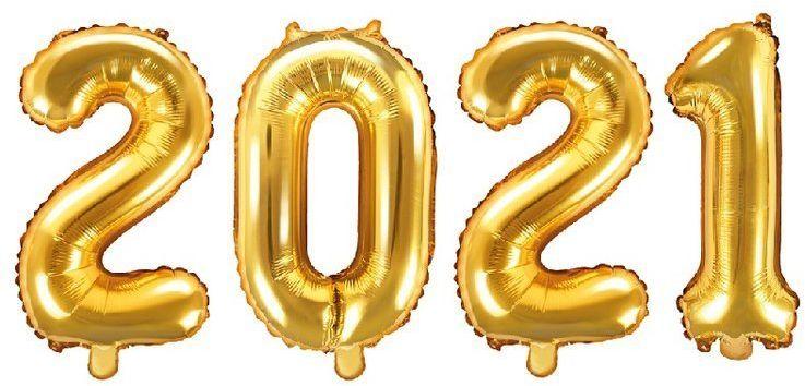 Balony foliowe 2021 złote 35cm FB10M-2021-019