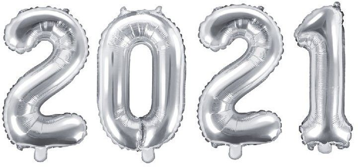 Balony foliowe 2021 srebrne 35cm FB10M-2021-018