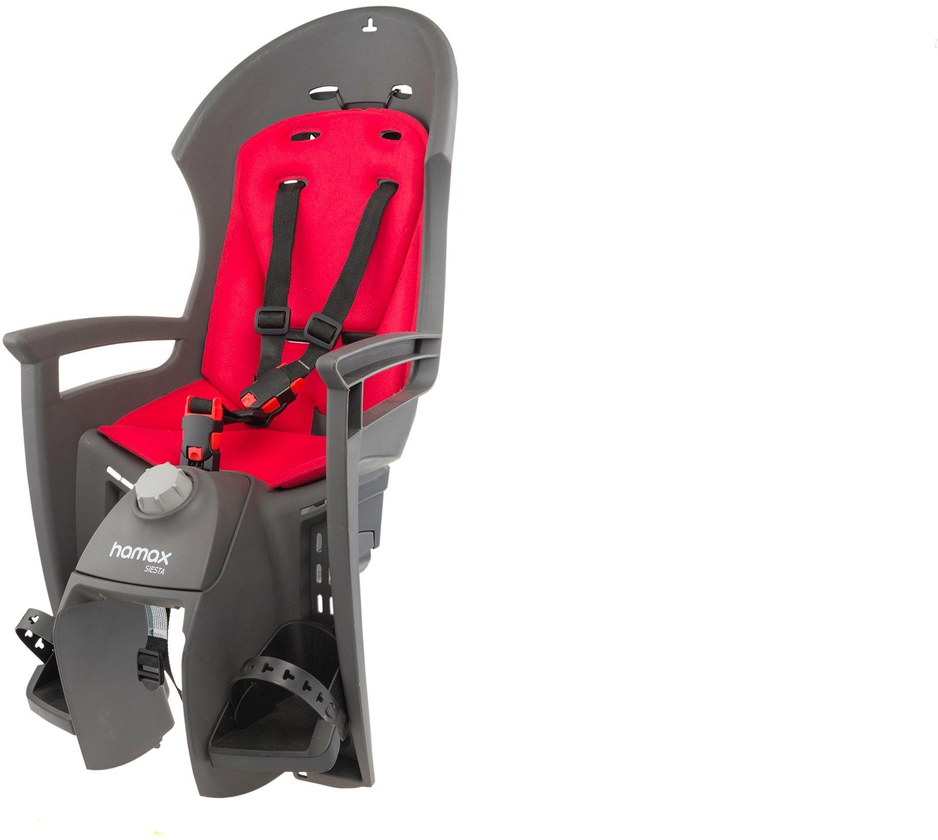 Fotelik rowerowy HAMAX SIESTA ciemnoszary czerwona wyściółka z adapterem 2017