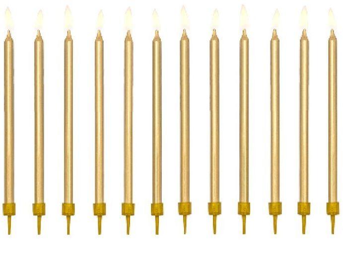 Świeczki urodzinowe złote 12,5cm 12szt SCD-1-019ME