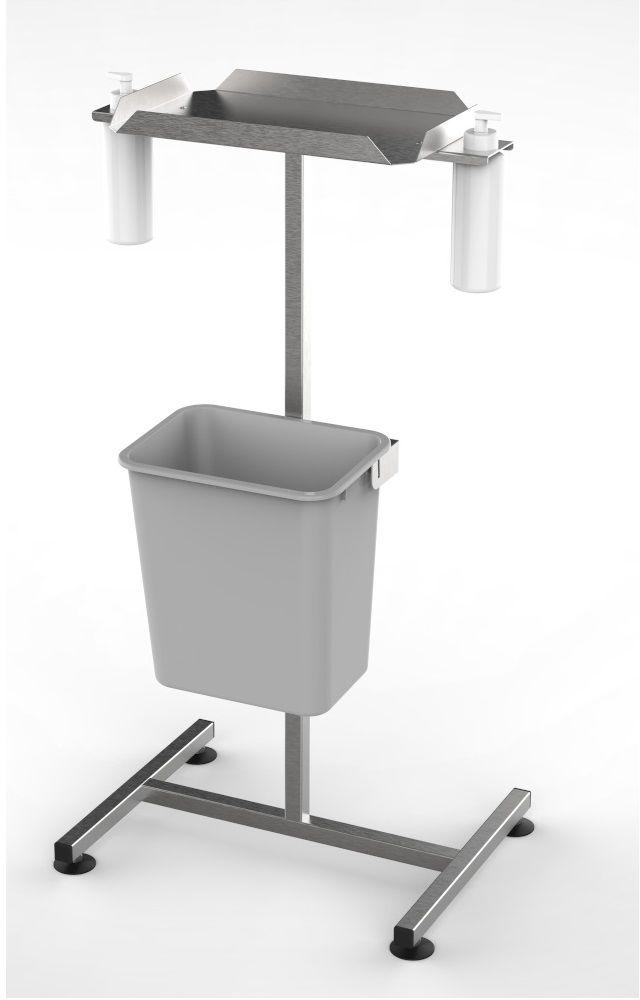 Stanowisko dezynfekcyjne z półką i dozownikami na kółkach DM-3300-2