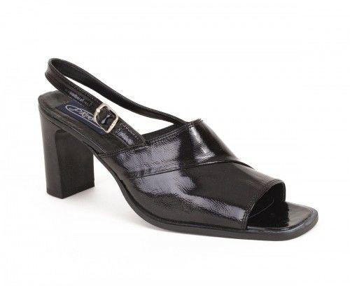 Skórzane sandały damskie na obcasie - czarne