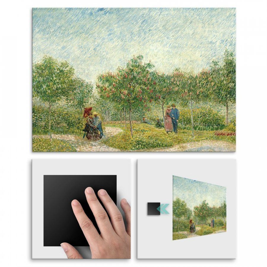 Plakat metalowy Vincent Van Gogh Garden with Courting Couples: