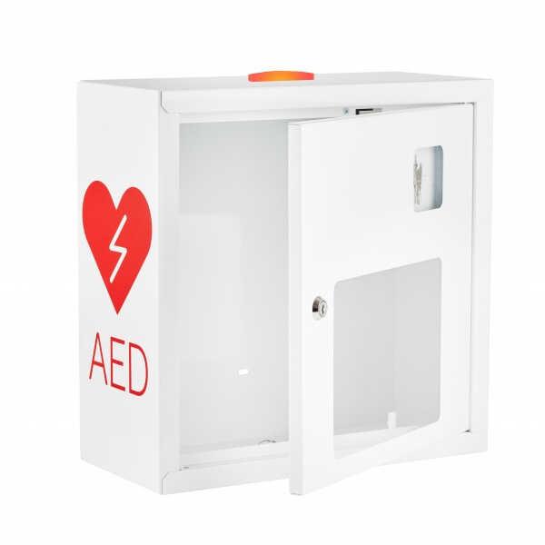 Szafka na defibrylator z alarmem dzwiękowym i świetlnym