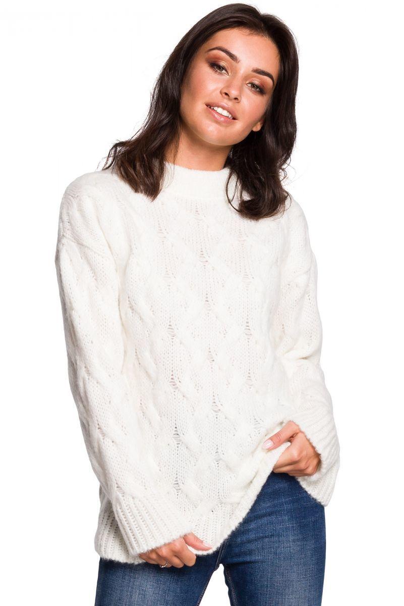 BK038 Sweter ze splotem typu warkocz - ecru