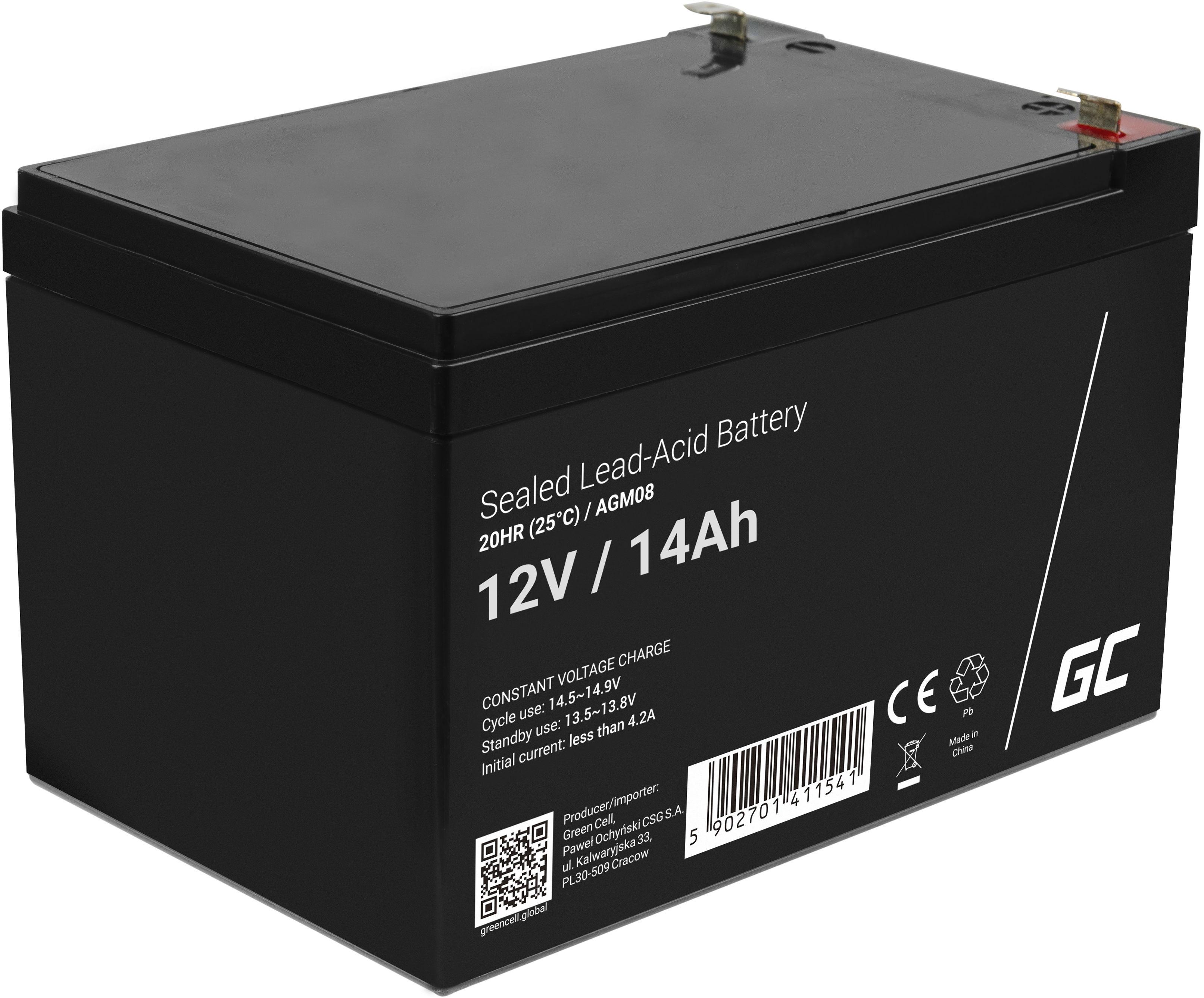 Green Cell AGM VRLA 12V 14Ah bezobsługowy akumulator do systemu alarmowego kasy fiskalnej zabawki