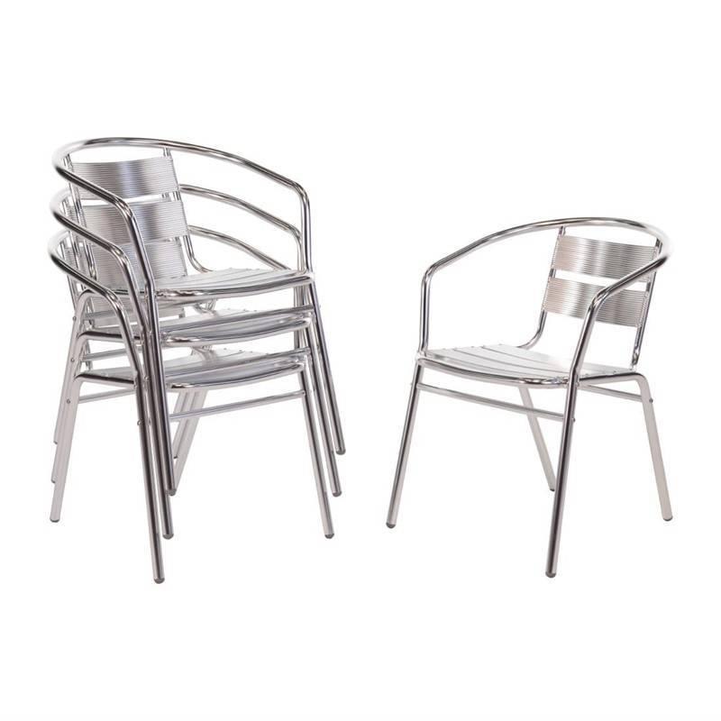 Krzesła aluminiowe sztaplowane 4 szt. 53x58x(H)73,5cm