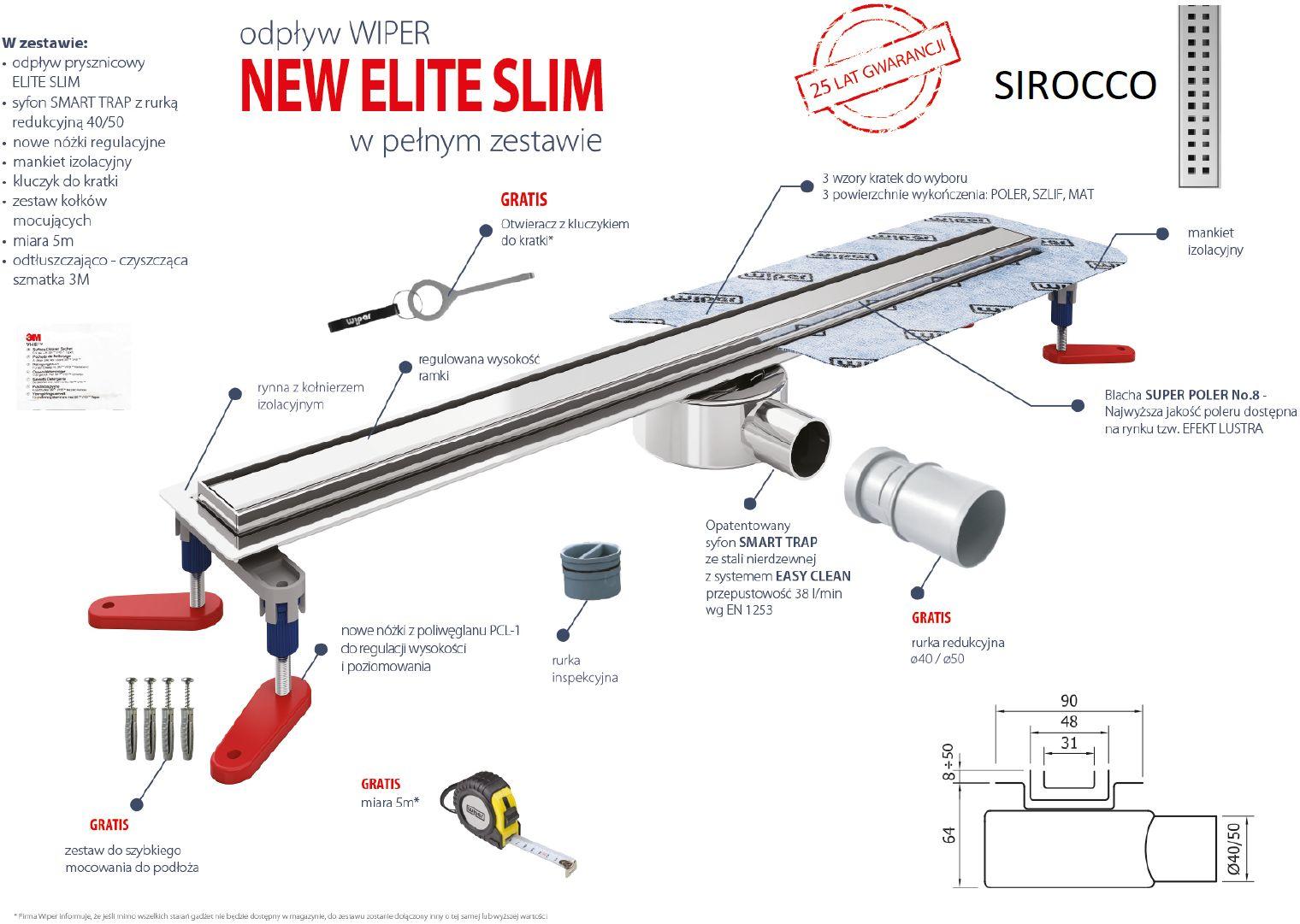 Wiper odpływ liniowy Sirocco New Elite Slim 80 cm z mankietem + gratisy 100.3400.01.080