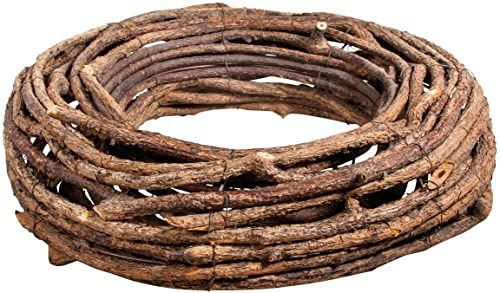 Rayher 65098000 naturalny wieniec do rustykalnych i sezonowych dekoracji, okrągła podstawa do rękodzieła kwiatowego, 40 cm
