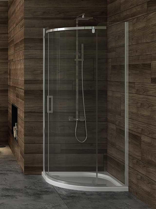 Kabina prysznicowa New Trendy Gold półokrągła New Komfort 90 x 90 cm, wys. 195 cm, szkło czyste 6 mm K-0436