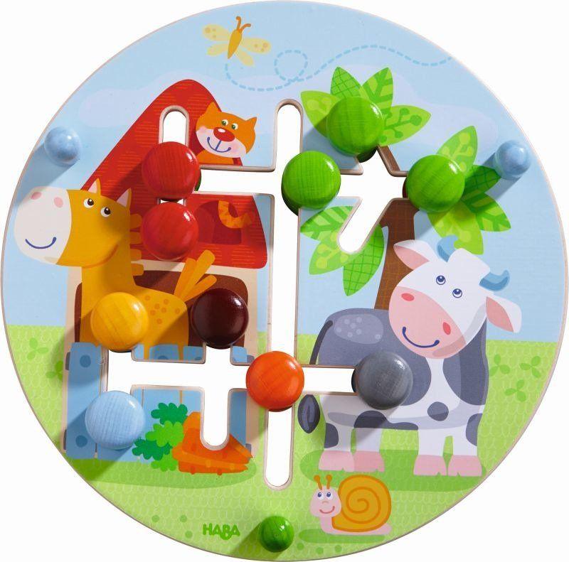 Sortowanie kolorów, Kształtne zwierzęta, HB301696-Haba, drewniany labirynt dla dzieci