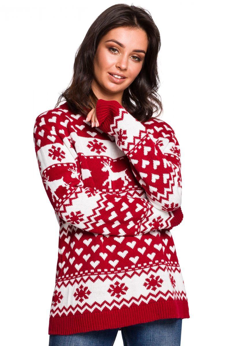BK039 Sweter z motywem świątecznym - model 1