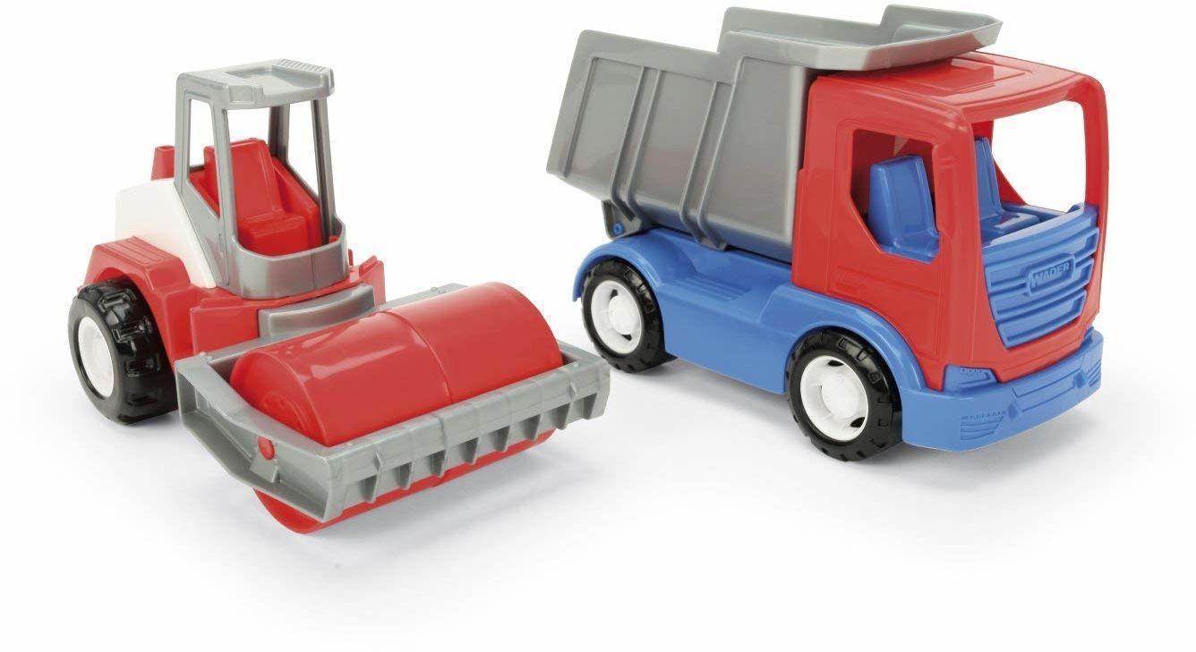 Wader 35375 35375-Tech Truck zestaw do zabawy i walec uliczny, ze stabilnymi osiami stalowymi, wymiary ok. 26 x 14,5 x 35,5 cm, od 12 miesięcy, idealny jako prezent do kreatywnej zabawy, kolorowy
