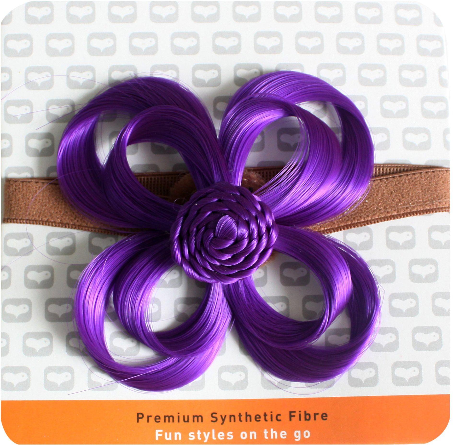 Love Hair Extensions Kwiat na elastycznej opasce na głowę kolor ciemnej lilii, 1 opakowanie (1 x 1 sztuka)
