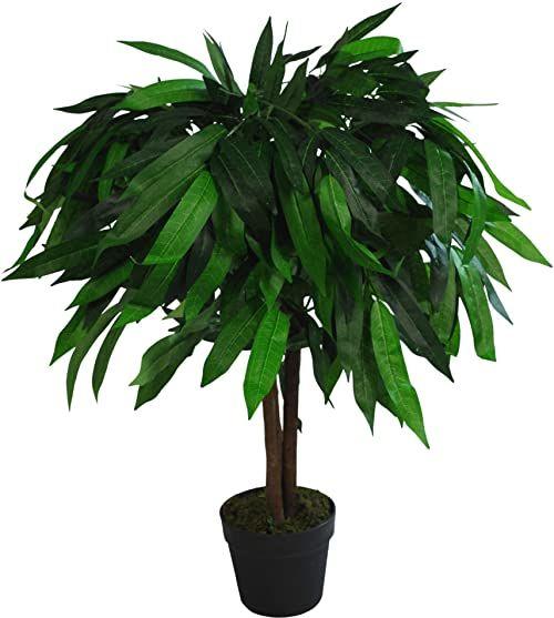 Leaf Design UK XL sztuczne drzewo mango roślina czarna plastikowa doniczka, zielona, 80 cm