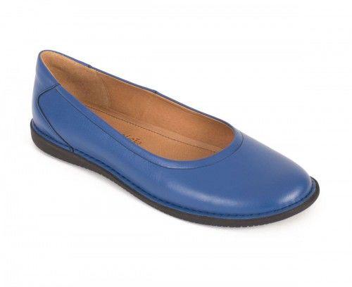 Skórzane półbuty baleriny damskie - niebieskie