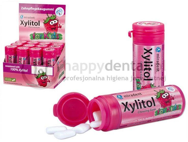 MIRADENT Xylitol Chewing Gum FOR KIDS 30sztuk - guma do żucia dla dzieci z ksylitolem przeciw próchnicy (smak: Truskawka)