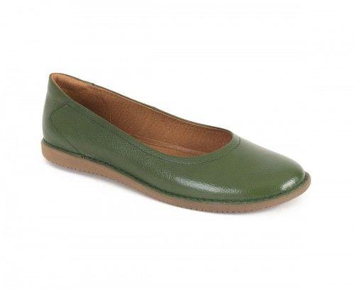 Skórzane półbuty baleriny damskie - zielone