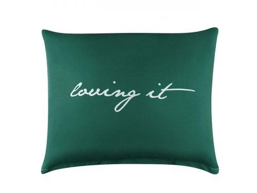 POSZEWKA DEKORACYJNA - Loving It Ciemny Zielony+Biały 50x60