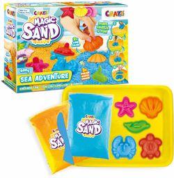 CRAZE Magic Sand Sea Adventures 600 g kolorowy kinetyczny piasek do wnętrz z foremkami 28605