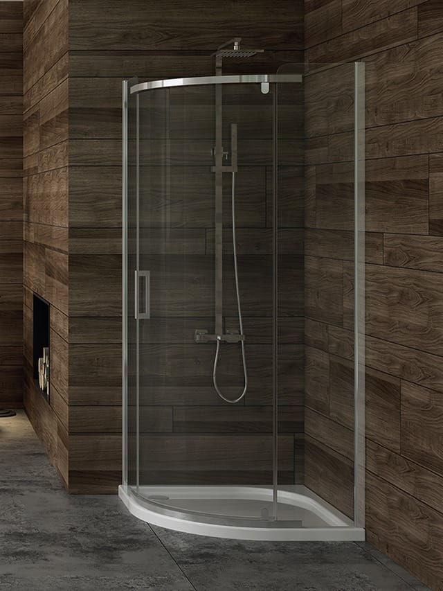 Kabina prysznicowa New Trendy Gold półokrągła New Komfort 90 x 90 cm, wys. 195 cm, szkło Grafitowe 6 mm K-0435