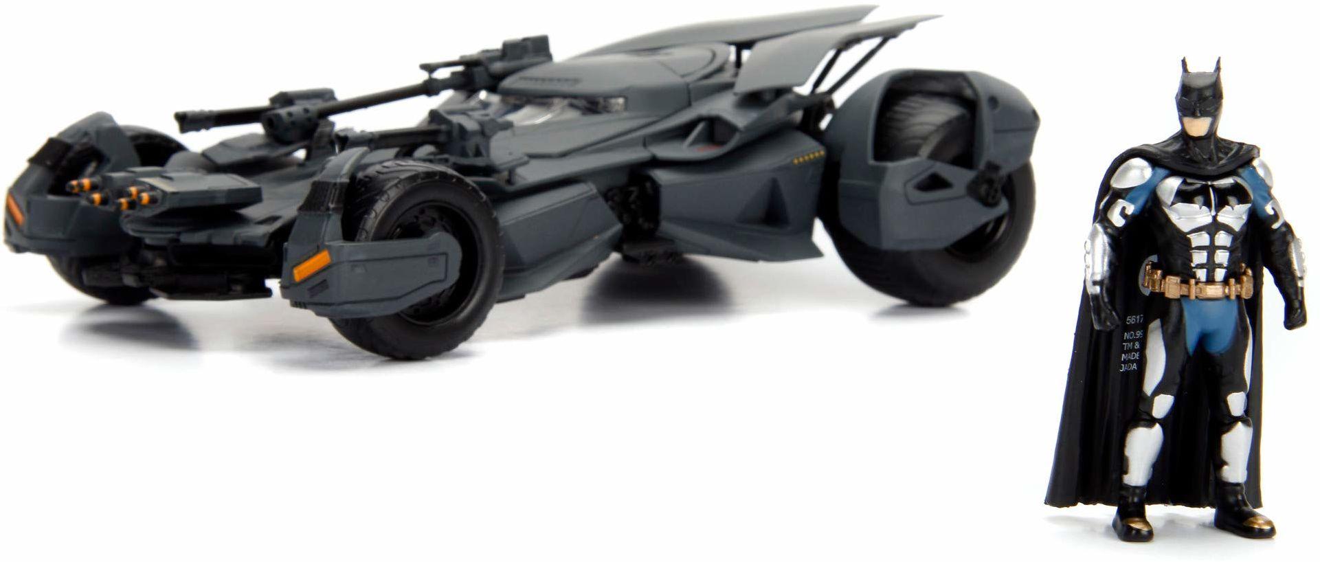 Jada Toys 253215000 Justice League Batmobil, samochód zabawkowy, model samochodu, Die-cast, drzwi do otwierania, wraz z figurką Batmana, skala 1:24, czarny, Talla uniwersalna nica