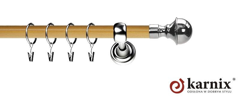 Karnisz Metalowy Prestige pojedynczy 19mm Bella INOX - pinia