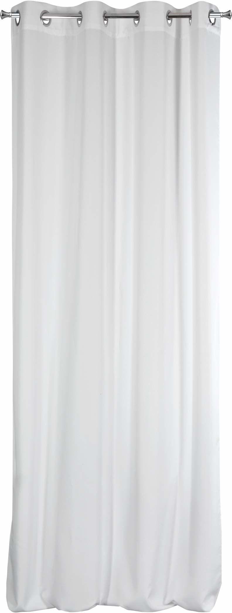 Design91 Zasłona gładka matowa 8 oczek miękka firanka 1 szt. nowoczesna prosta sypialnia pokój dziecięcy pokój dzienny materiał biały, 140 x 250 cm