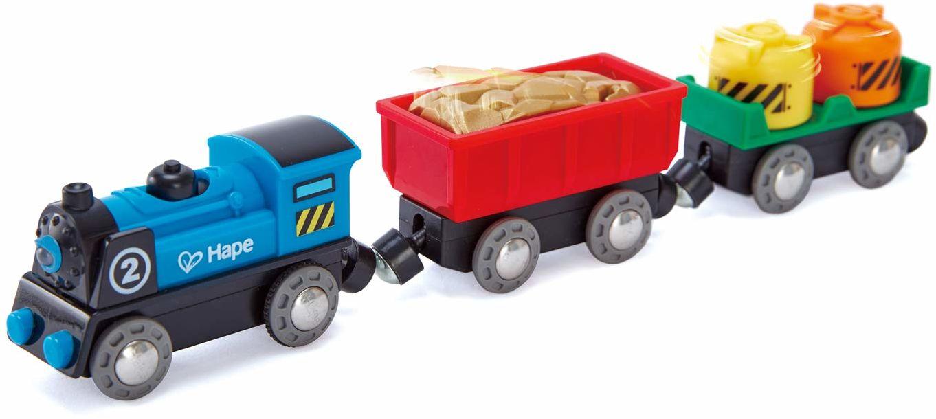 Hape E3720 zestaw pociągu na kółkach na baterie  drewniane akcesoria do torów kolejowych