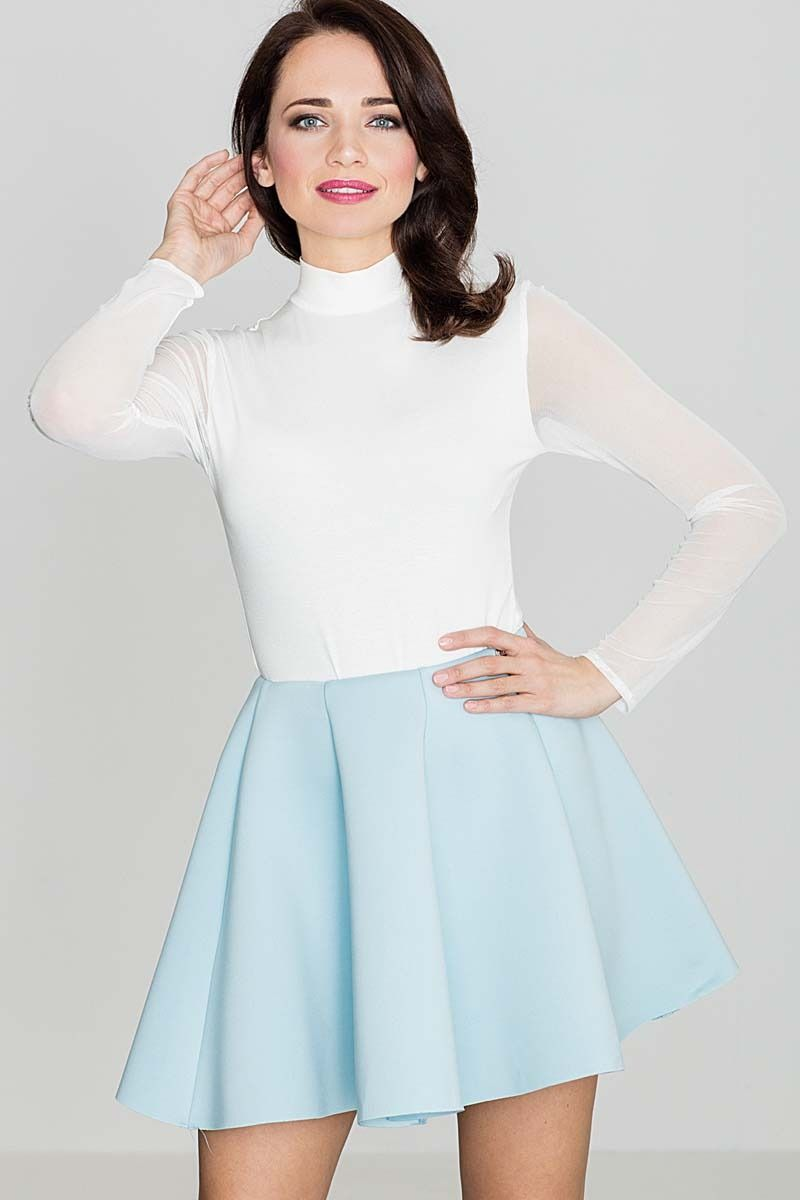 Niebieska efektowna kloszowana spódnica mini