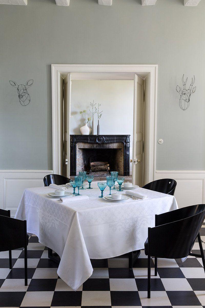 Obrus żakardowy Le Jacquard Fran ais Azulejos White