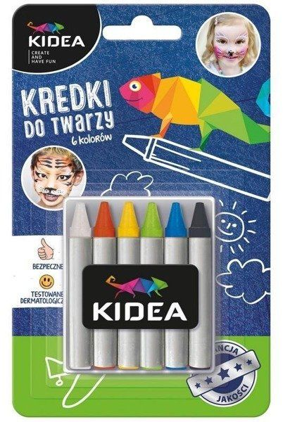 Kredki do twarzy 6 kolorów x 2,5g KIDEA - DERFORM