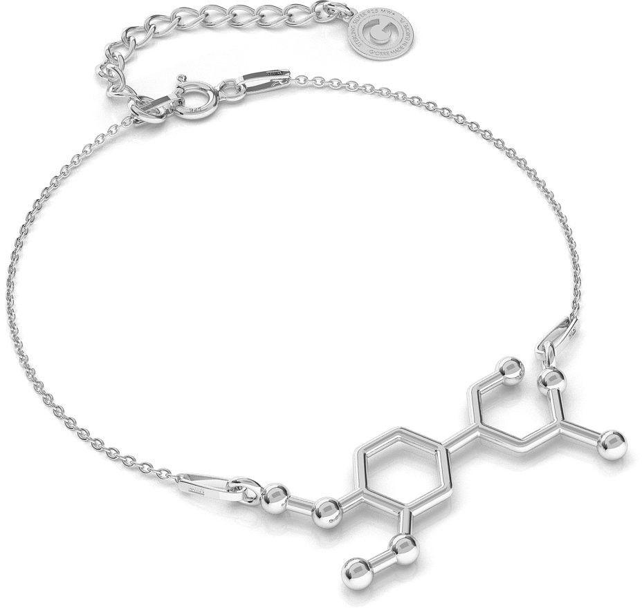 Srebrna bransoletka adrenalina wzór chemiczny, srebro 925 : Srebro - kolor pokrycia - Pokrycie platyną