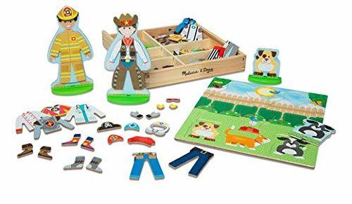Melissa & Doug zawody - magnetyczny zestaw do zabawy przebieralni dla drewnianych lalek (82 części)