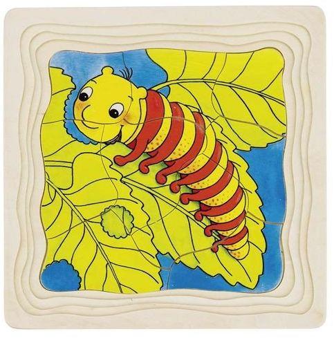 Układanka drewniana na podstawce, Od poczwarki do motyla, 57523-goki, puzzle drewniane, edukacyjne