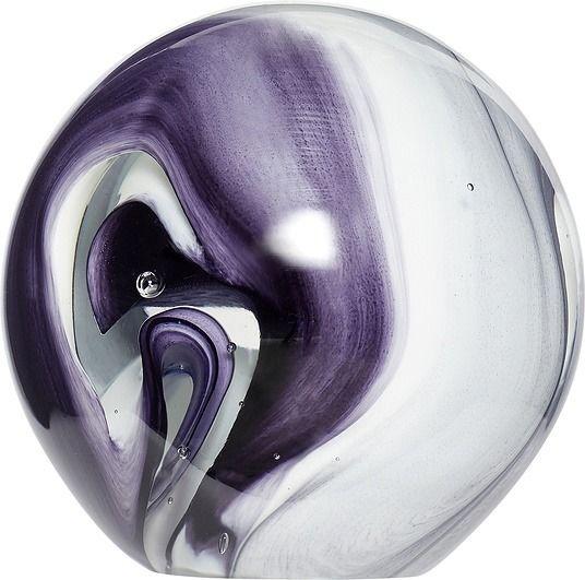 Przycisk do papieru hübsch kula 10 cm biało-fioletowy