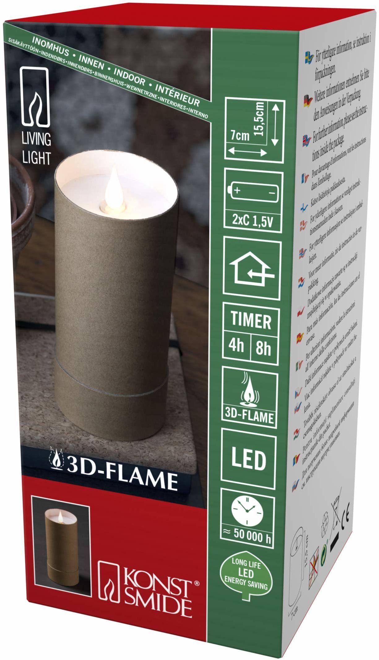 Konstsmide, 1880  605, świeca LED, biała, w brązowym cylindrze z pokrywką, płomień 3D, timer 4 h i 8 h, dioda o ciepłej białej barwie, zasilanie bateryjne, wewnątrz