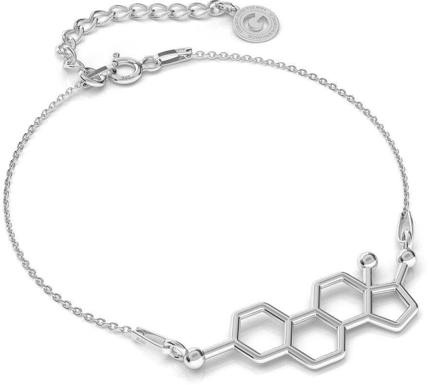 Srebrna bransoletka estrogen, wzór chemiczny, srebro 925 : Srebro - kolor pokrycia - Pokrycie platyną