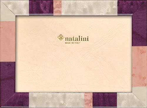 Natalini Marquetry ramka na zdjęcia wykonana we Włoszech, tulipan, fioletowa, 12 cm x 18 cm